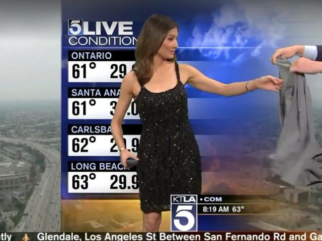 Liberte Chan was in the middle of her weather update for Los Angeles TV station KTLA when a frumpy grey sweater appeared on the right side of the camera.