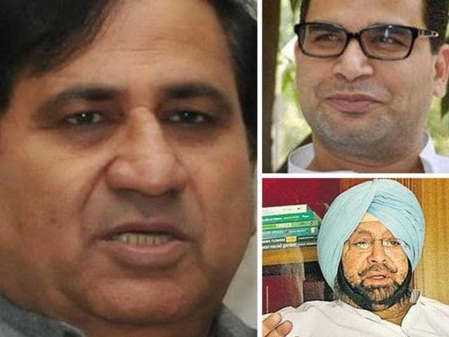 "Shakeel Ahmad (left) said, ""It was made clear to Prashant Kishor (right, top) that whatever strategy he has to make, he will advise our captain of Punjab, Captain Amarinder Singh."""