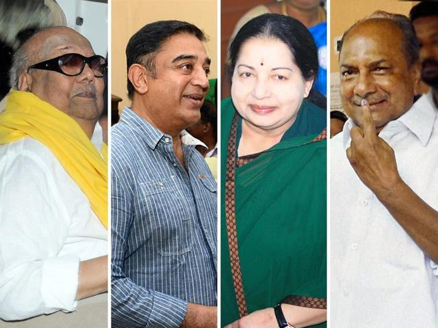 (Left to right) DMK chief M Karunanidhi, actor Kamal Haasan, Tamil Nadu CM J Jayalalithaa and Congress leader AK Antony cast their votes in the assembly elections.