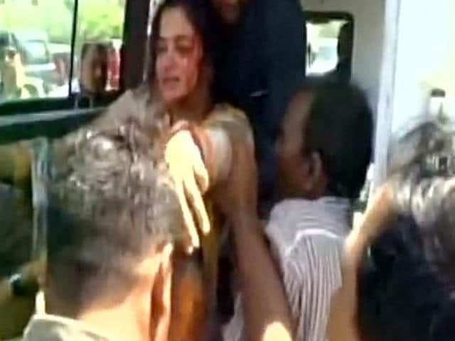 Jamnagar BJP MP Poonamben Madam rushed to nearby hospital after she fell into a drain in Jalla Ram Nagar in Gujarat