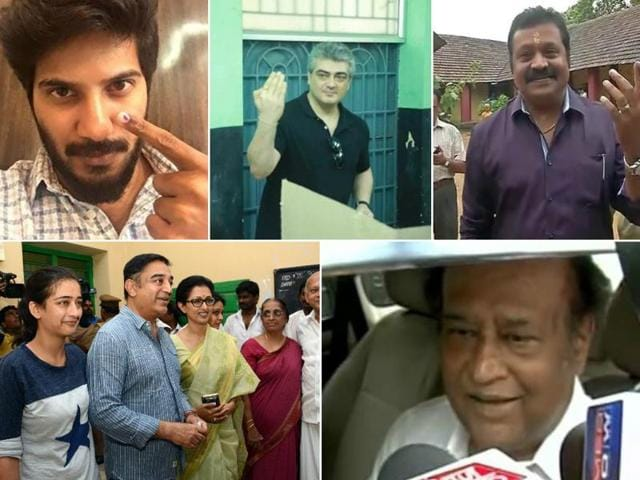 A host of actors and stars from the Tamil and Malayalam film industries came out to vote during the state assembly polls. Seen here, actor Kamal Haasan with family at the voting booth.