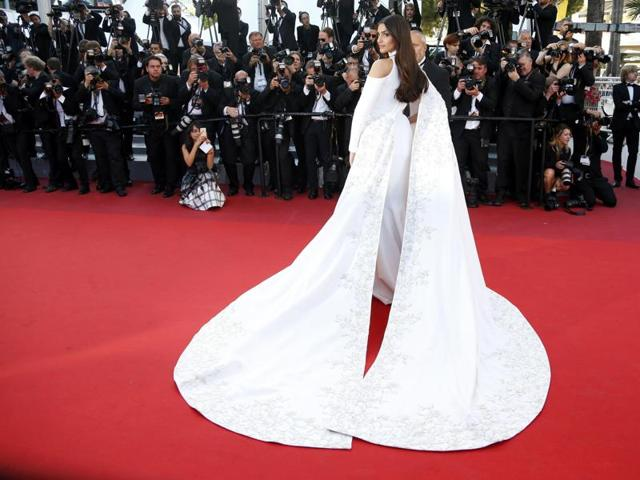 Actor Sonam Kapoor poses on the red carpet as she arrives for the screening of Mal de pierres (From the Land of the Moon) at the 69th Cannes Film Festival in Cannes, France