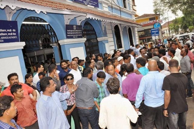 Crowd during the production of Goa MLA and former Goa Congress leader Atanasio Babush Monserrate, accused in a rape case in the court in Panaji on Monday.