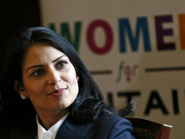 File photo of Britain's minister of state for employment Priti Patel speaking at the launch of the EU referendum Women campaign for Britain on March 8.