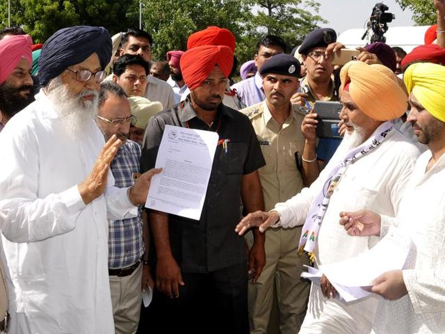 Sanjay Singh was part of the AAP delegation that met Badal, who walked out of his official residence in Chandigarh's upscale Sector 2 amid unprecedented security to meet the delegation members.