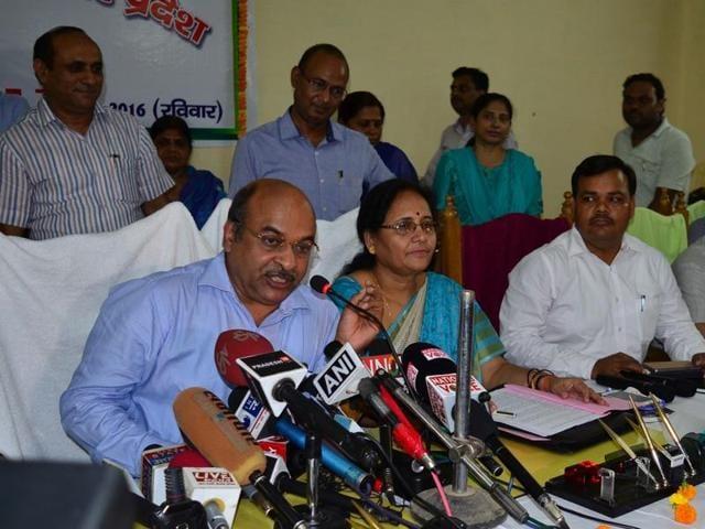Director of Uttar Pradesh Madhyamik Shiksha Parishad, Amarnath Verma, declares the results of Class 10 and Class 12 examinations in Allahabad.