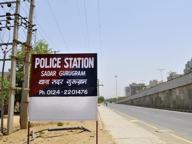 The signboard of a police station in Gurgaon mentions the city's new name, which is yet to be approved by the Union ministry of home affairs.