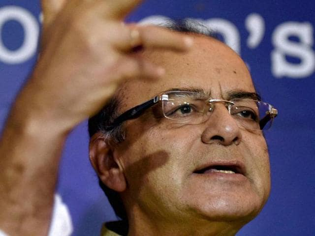 Finance minister Arun Jaitley speaks at a press meet at Indian Women's Press Corps in New Delhi on Monday.