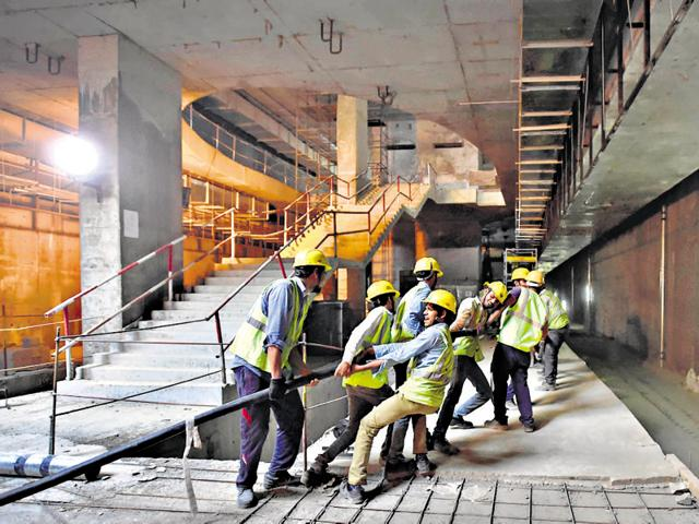 Work under way at the Terminal I D metro station.  The Delhi Metro Rail Corporation  will connect the arrival and departure terminals of the domestic airport with the station.Delhi airport