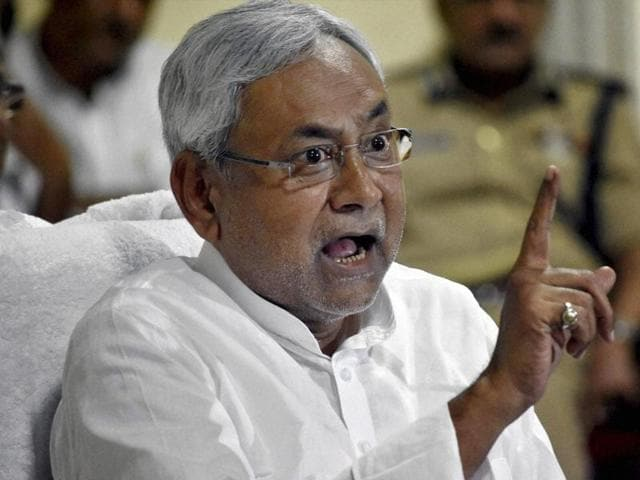 Bihar chief minister Nitish Kumar addresses a press conference in Patna on Monday.