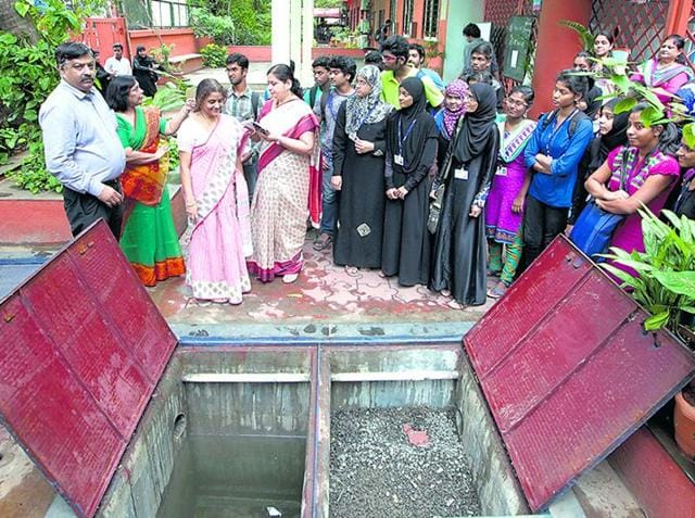File photo of the rainwater harvesting system at SIES College, Sion.