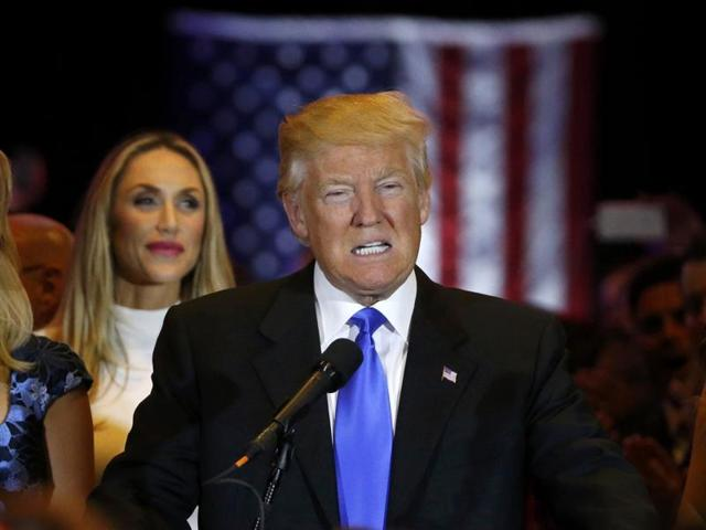 Republican US presidential candidate and businessman Donald Trump speaks to supporters after his rival, Senator Ted Cruz, dropped out of the race following the results of the Indiana state primary, at Trump Tower in Manhattan, New York.
