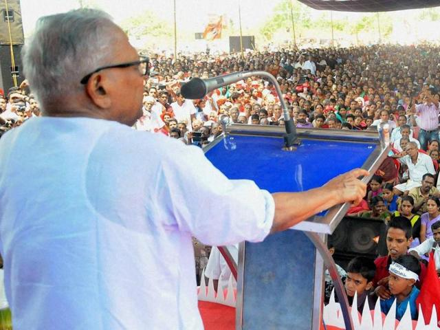 VS Achuthanandan speaks at an election campaign rally at Vadakara in Kozhikode.