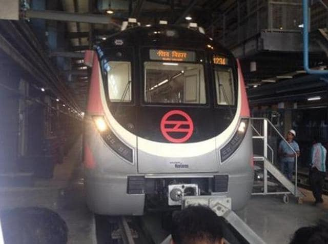 Delhi's first driverless metro trains at Mukandpur Depot. These new trains will be run by operators till the end of 2017.