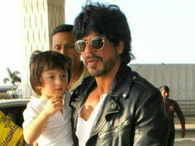 Shah Rukh Khan with son AbRam as he returns from Eden Garden after his team's IPL match. The actor took a lap with AbRam at the stadium after the match.