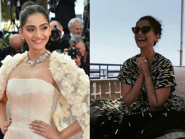 After flaunting her white Ralph and Russo dress on the Cannes red carpet, Sonam picked a black one for a press meet on Monday morning.
