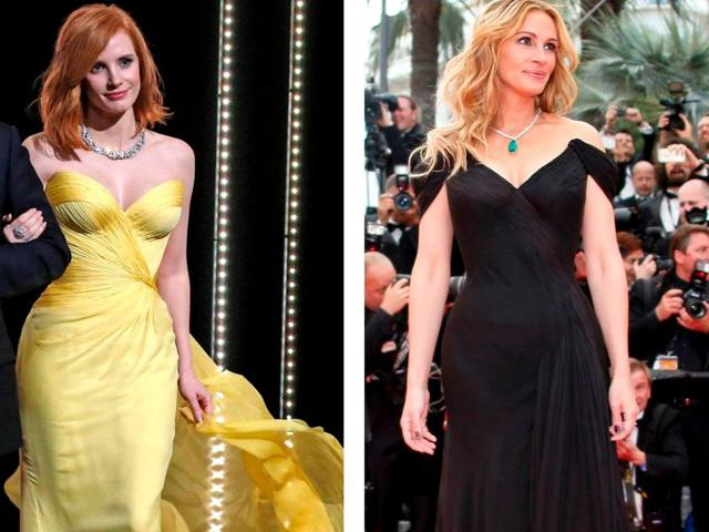 Hollywood stars Jessica Chastain and Julia Roberts.