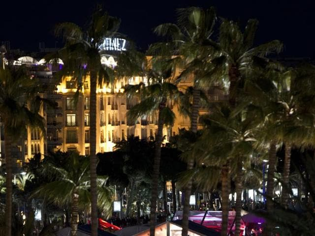 The Martinez hotel in the background and tents set on the beach along the Croisette boulevard during the 64th Cannes Film Festival in 2011.