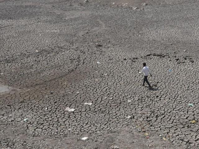 Dried up lake of Prithvipur in Bundelkhand.