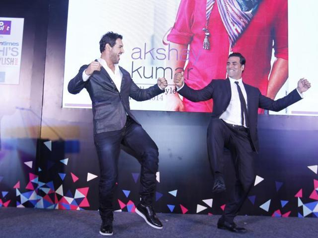 Actors John Abraham and Akshay Kumar shake a leg during Delhi's Most Stylish Awards 2014. The iconic awards  celebrate style and the stylish, bringing together people across politics, fashion, films and more.