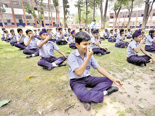 Students at a school in Chandigarh during a Yoga camp.