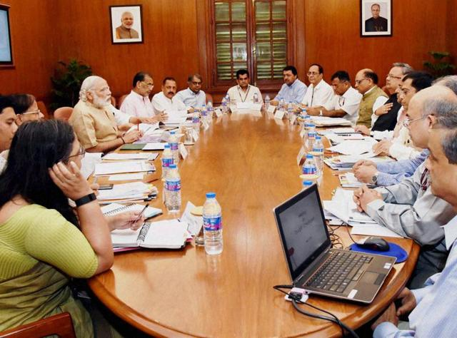 Prime Minister Narendra Modi in a  meeting with Chief Minister of Chhattisgarh, Raman Singh, on drought and water scarcity in New Delhi on Tuesday.
