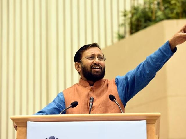 Minister of State (Independent Charge) for Environment, Forest and Climate Change, Prakash Javadekar, addresses the inaugural session of a one-day national conference on 'Gaushalas.' The centre is planning a slew of measures to protect illegal smuggling and slaughtering, in order to conserve 'gauvansh' (cow clans) and 'gaushalas' (cow sheds) in the country.