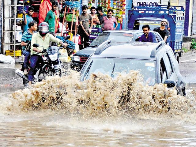 A Gurgaon road during last year's monsoon.