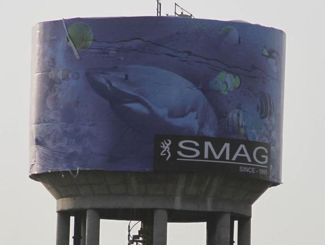 Graffiti on an overhead water tank near Old GT Road in Ludhiana.
