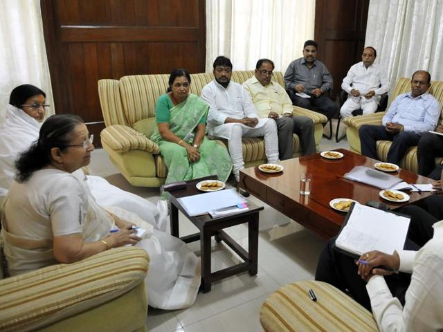 Indore MP Sumitra Mahajan holds a meeting with officials and public representatives on water conservation in Indore.