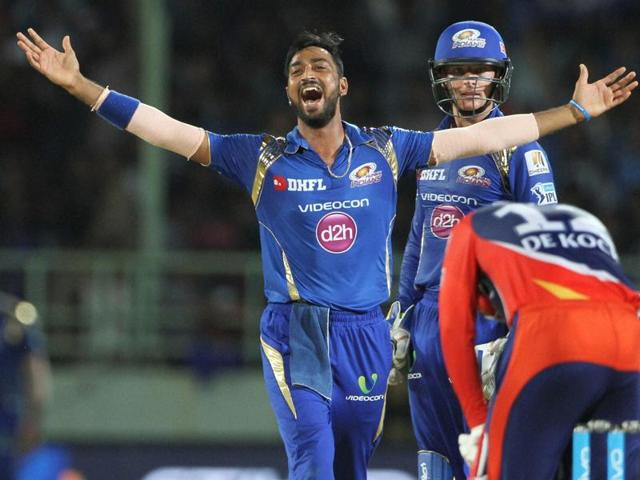 Krunal Pandya of Mumbai Indians celebrates the wicket of Quinton de Kock of Delhi Daredevils.