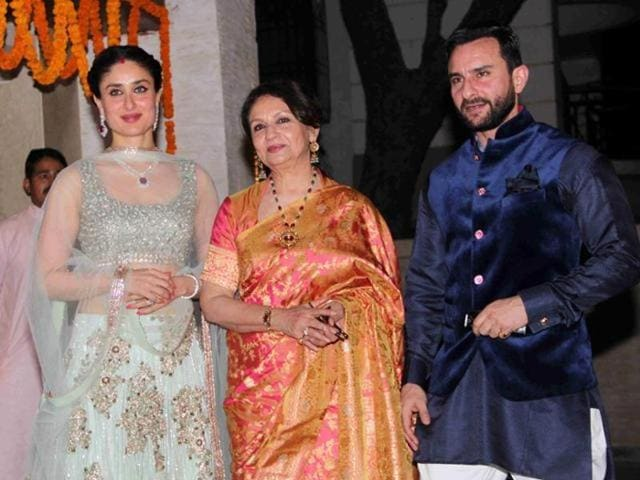 Kareena, Sharmila Tagore and Saif Ali Khan at an event in Mumbai. (HTPhoto)