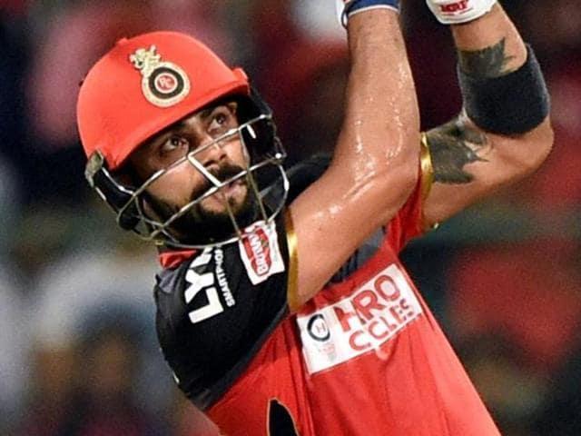 RCBskipper Virat Kohli plays a shot.