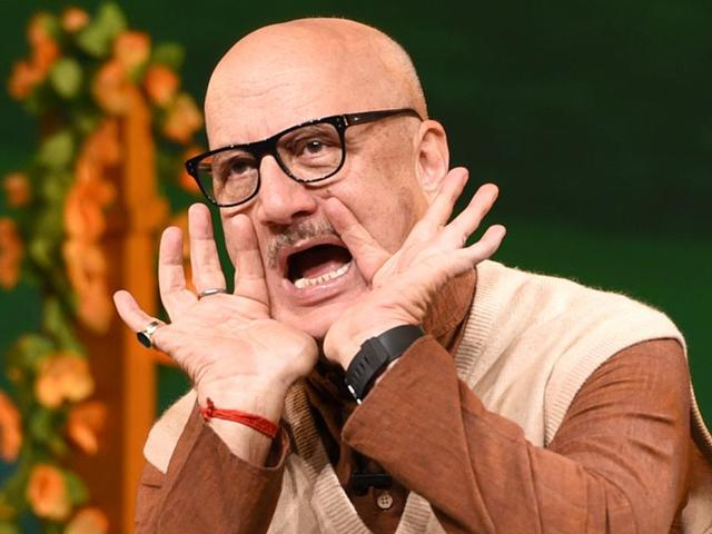 Actor Anupam Kher performs in Chandigarh on Wednesday.