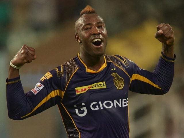 Kolkata Knight Riders Andre Russell celebrates after the dismissal of Kings XI Punjab Marcus Stoinis.