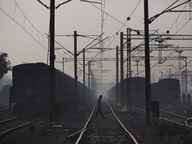 Three trains were stranded at the railway track for hours.