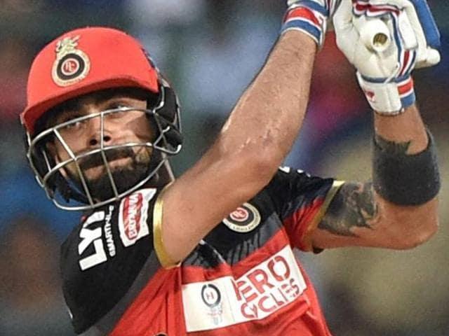 Royal Challengers Bangalore's Virat Kohli plays a shot during the IPL T20 match.