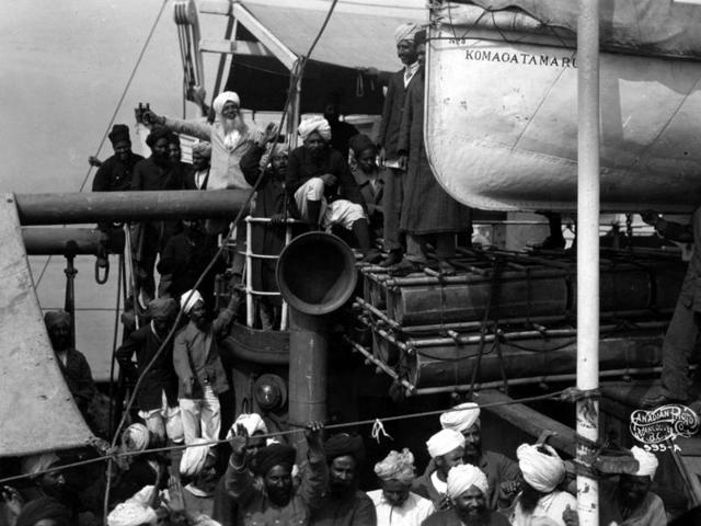 Tejpal Sandhu's great-grandfather Gurdit Singh (front, white bearded), who organised the Komagata Maru voyage, is seen with his son, Balwant Singh, then just seven, and other passengers of the Japanese steamship in 1914.