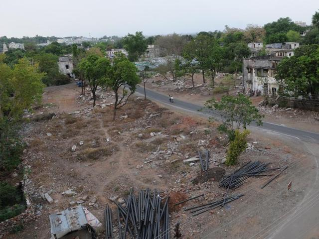 Chief minister Shivraj Singh Chouhan inspecting the new site for the smart city project in Bhopal on Tuesday.
