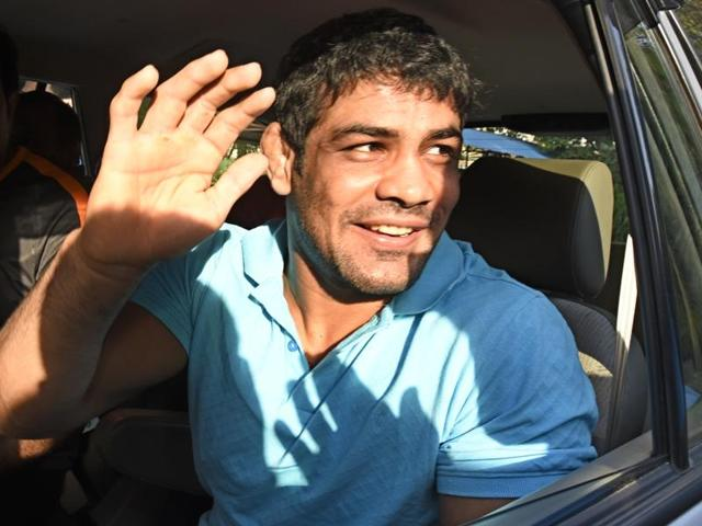 Sushil Kumar leaves after the meeting with wrestling federation of India President Brij Bhushan Sharan Singh.