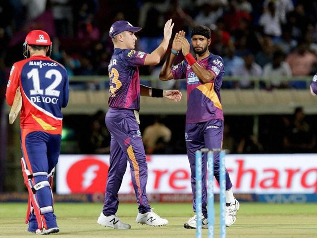 Rising Pune Supergiants players celebrates a wicket of Delhi Daredevils during match IPL 2016.