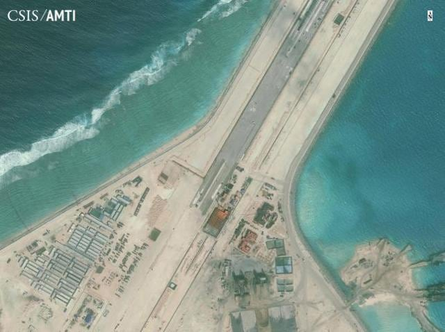 The center portion of the Subi Reef runway is shown in this Center for Strategic and International Studies (CSIS) Asia Maritime Transparency Initiative