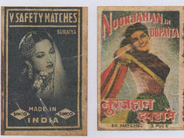 A matchbox label inspired by Bollywood theme.
