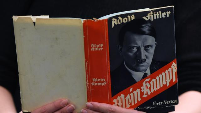 "This file photo shows a German edition of Adolf Hitler's ""Mein Kampf"" (My Struggle) at the Berlin Central and Regional Library in Berlin."