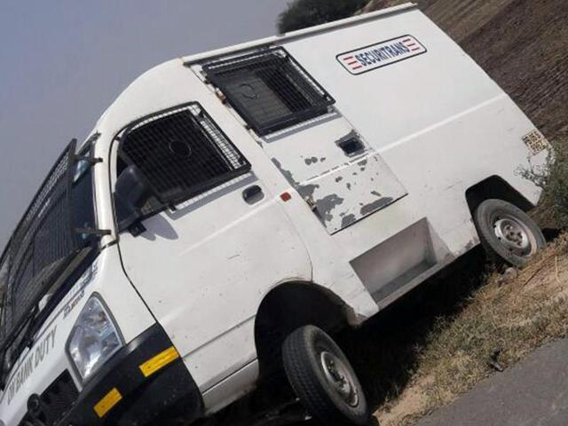 The cash delivery van, from which a sum of Rs 6.5 was looted in Faridkot on Wednesday.