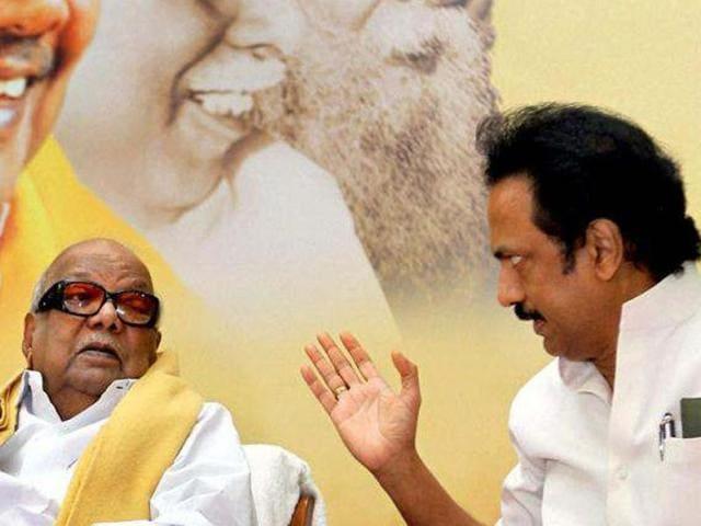 DMK chief M Karunanidhi with his son, MK Stalin.
