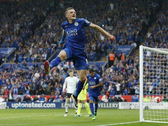 Leicester City's Jamie Vardy celebrates after scoring a goal in a recent match.