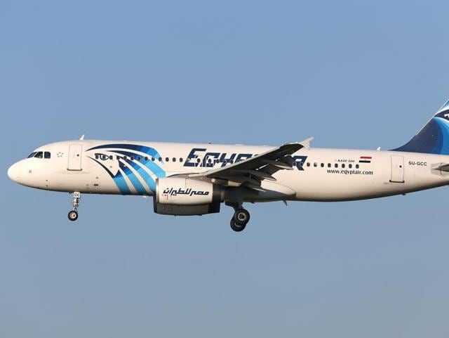 This is a Jan 2015 image of EgyptAir Airbus A320 with the registration SU-GCC in the air near Zaventem airport in Brussels. Egyptian aviation officials said on Thursday May 19, 2016 that an EgyptAir flight MS804 with the registration SU-GCC, travelling from Paris to Cairo with 66 passengers and crew on board has crashed. The officials say the search is now underway for the debris.(AP Photo/Kevin Cleynhens)