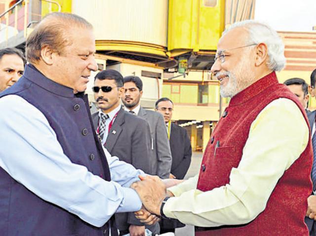 In this file photo, Prime Minister Narendra Modi meets his Pakistani counterpart, Nawaz Sharif, in Lahore.