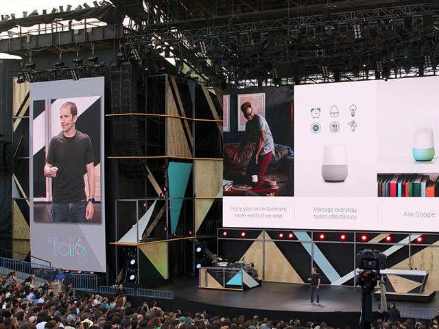 Google vice president of product management Mario Queiroz shows off a Google Home virtual assistant device that could challenge the Amazon Echo at the Internet firm's annual developers conference in the Silicon Valley city of Mountain View, California.